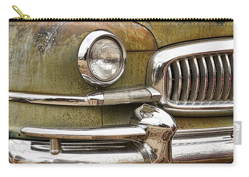 1951 Carry-all Pouch featuring the photograph 1951 Nash Ambassador Front End Closeup by James BO Insogna