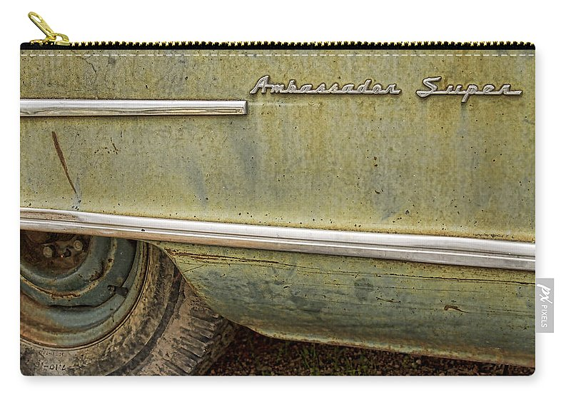 1951 Carry-all Pouch featuring the photograph 1951 Nash Ambassador Side Logo by James BO Insogna