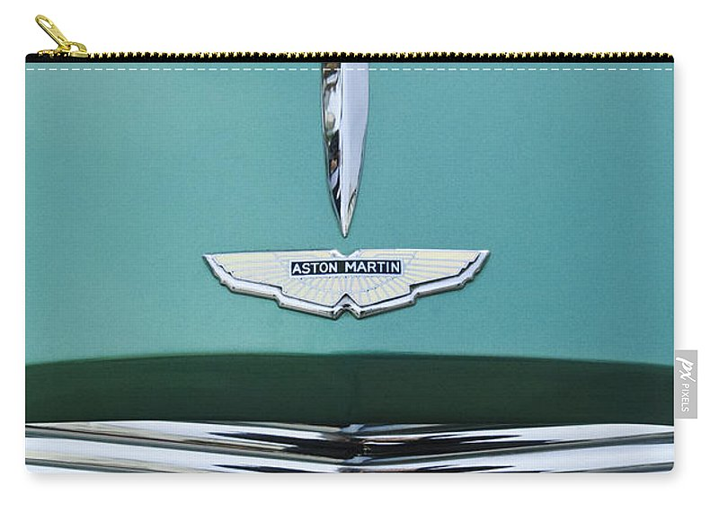 1955 Aston Martin Carry-all Pouch featuring the photograph 1955 Aston Martin Grille Emblem by Jill Reger