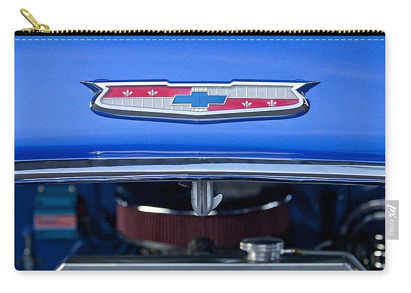 1955 Chevrolet Belair Carry-all Pouch featuring the photograph 1955 Chevrolet Belair Hood Emblem 4 by Jill Reger
