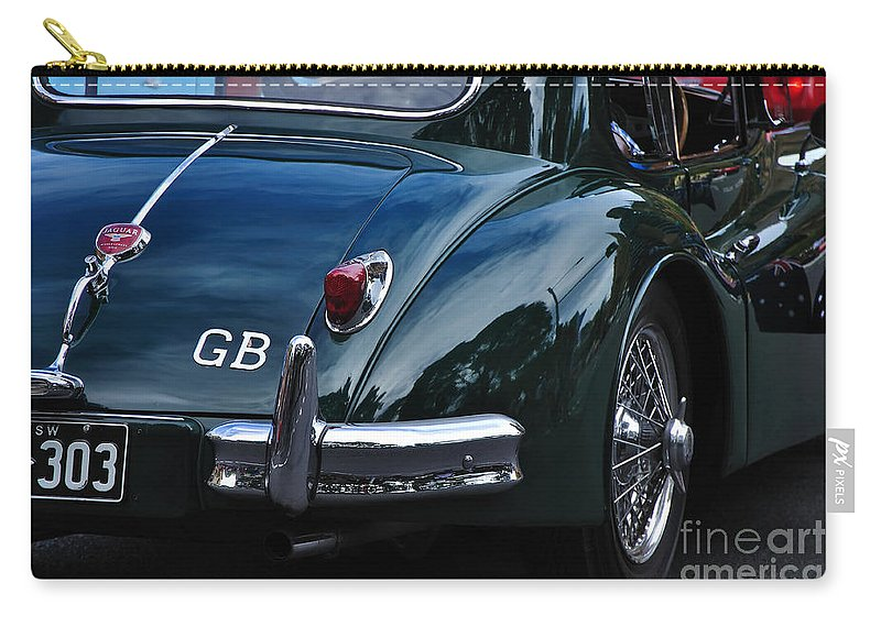 Photography Carry-all Pouch featuring the photograph 1956 Jaguar Xk 140 - Rear And Emblem by Kaye Menner