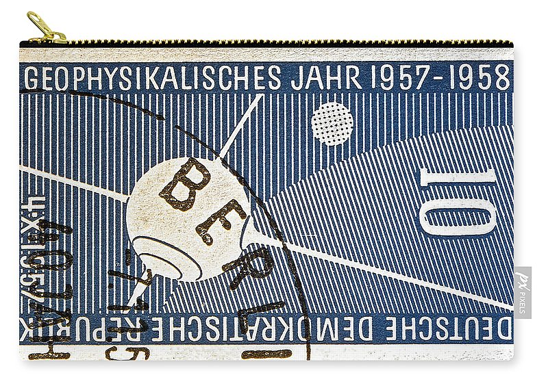 1957 Carry-all Pouch featuring the photograph 1957 - 1958 East German Sputnik Stamp by Bill Owen