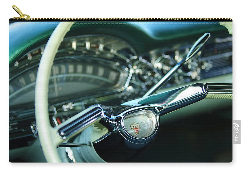 1958 Oldsmobile 98 Carry-all Pouch featuring the photograph 1958 Oldsmobile 98 Steering Wheel by Jill Reger