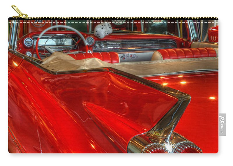 Cars Carry-all Pouch featuring the photograph 1959 Cadillac At The Pumps by Bob Christopher