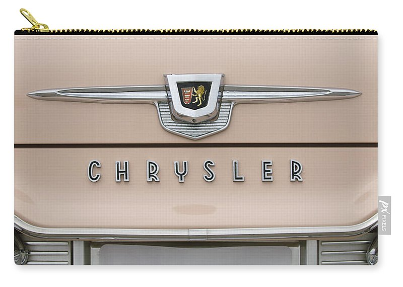 1959 Chrysler New Yorker Carry-all Pouch featuring the photograph 1959 Chrysler New Yorker Emblem by Jill Reger