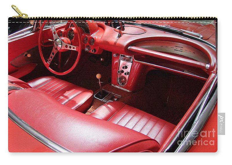 Corvette Carry-all Pouch featuring the photograph 1960 Chevrolet Corvette Interior by Mary Deal