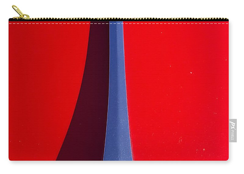 1963 Carry-all Pouch featuring the photograph 1963 Red Porsche Hood Emblem by James BO Insogna