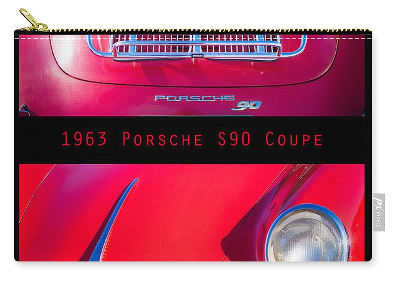 1963 Carry-all Pouch featuring the photograph 1963 Red Porsche S90 Coupe Poster S by James BO Insogna