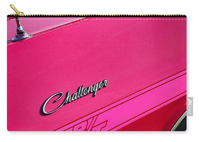 1970 Carry-all Pouch featuring the photograph 1970 Dodge Challenger Rt 440 Six Pack - Tickled Pink by Gordon Dean II