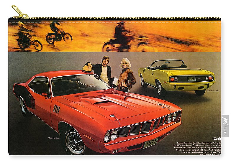 1971 Carry-all Pouch featuring the digital art 1971 Plymouth Barracuda by Digital Repro Depot