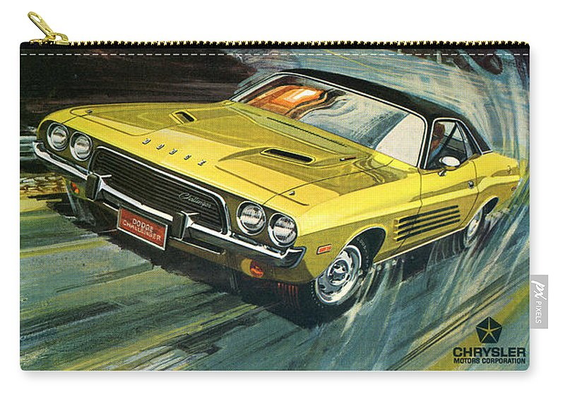 1973 Carry-all Pouch featuring the digital art 1973 Dodge Challenger Rallye by Digital Repro Depot