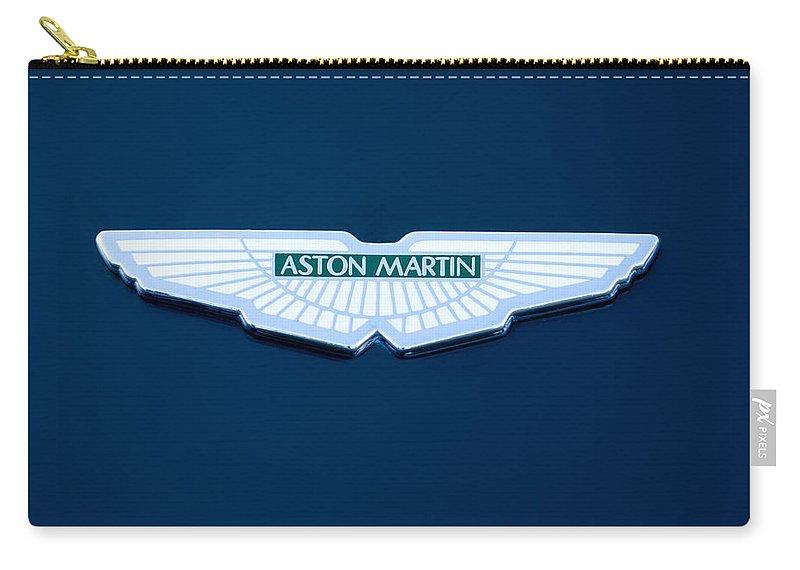 1997 Aston Martin Badges Carry-all Pouch featuring the photograph 1997 Aston Martin Emblem by Jill Reger