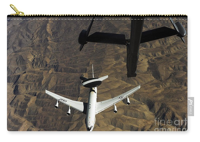 Operation Enduring Freedom Carry-all Pouch featuring the photograph A U.s. Air Force E-3 Sentry Aircraft by Stocktrek Images