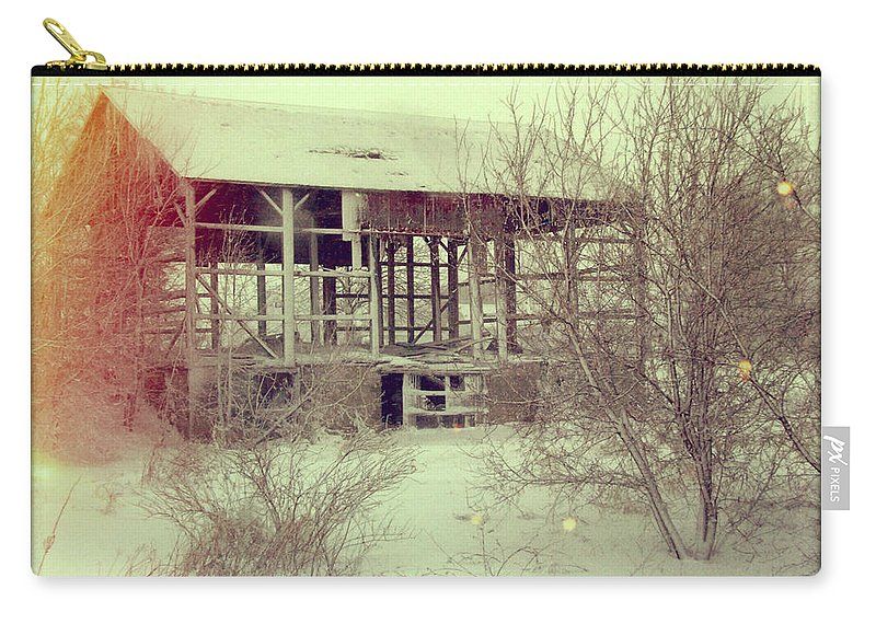 Countryside Carry-all Pouch featuring the photograph Barn In Snow by Jill Battaglia