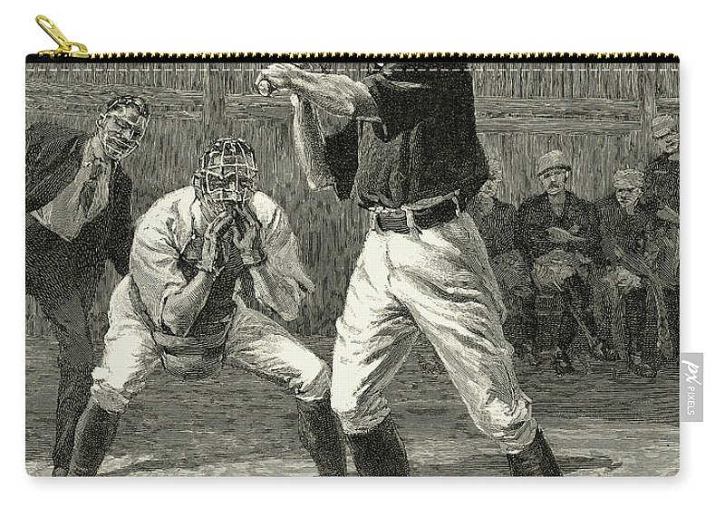 1888 Carry-all Pouch featuring the photograph Baseball, 1888 by Granger