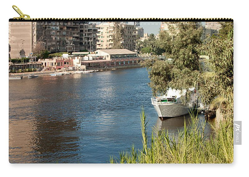 Africa Carry-all Pouch featuring the digital art Cairo City Streets by Carol Ailles