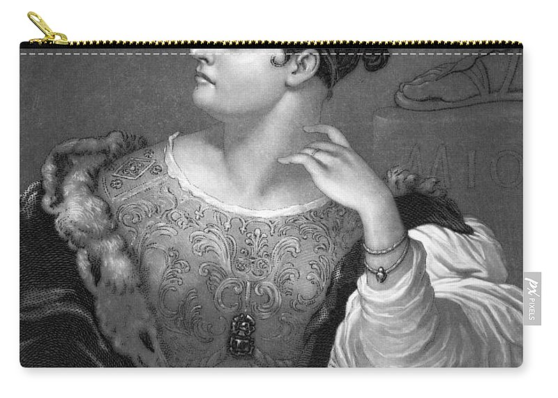 19th Century Carry-all Pouch featuring the photograph Caroline E. Norton by Granger