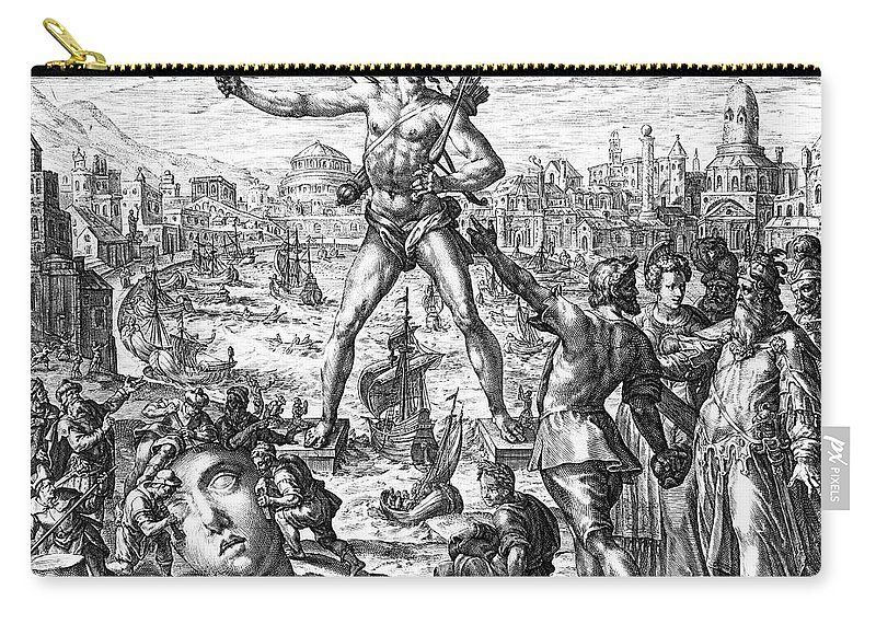 3rd Century B. C. Carry-all Pouch featuring the photograph Colossus Of Rhodes by Granger