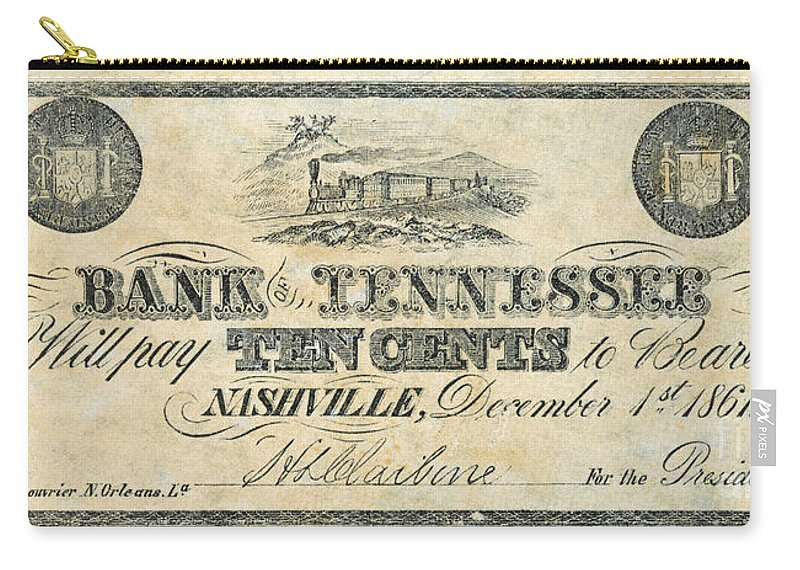1861 Carry-all Pouch featuring the photograph Confederate Currency by Granger