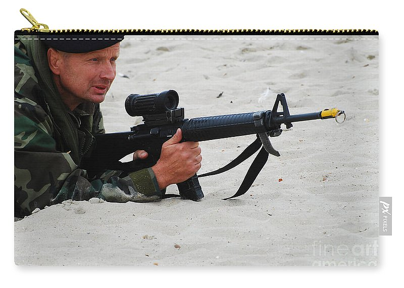 Ostend Carry-all Pouch featuring the photograph Dutch Royal Marines Taking Part by Luc De Jaeger