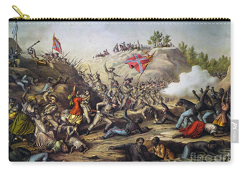 1864 Carry-all Pouch featuring the photograph Fort Pillow Massacre, 1864 by Granger