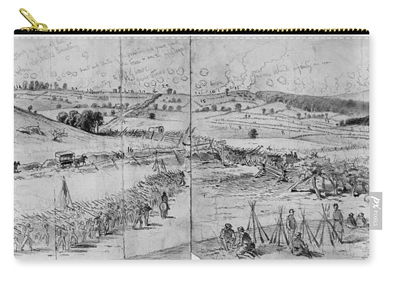 1863 Carry-all Pouch featuring the photograph Gettysburg, 1863 by Granger