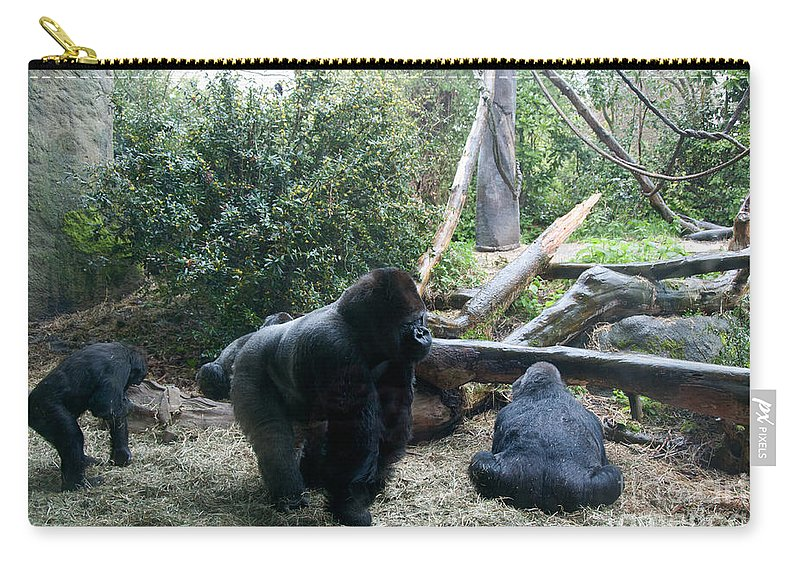 Seattle Carry-all Pouch featuring the digital art Gorillas by Carol Ailles