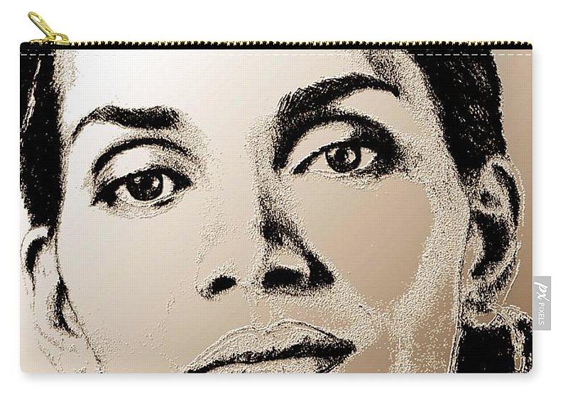 Halle Berry Carry-all Pouch featuring the digital art Halle Berry In 2008 by J McCombie