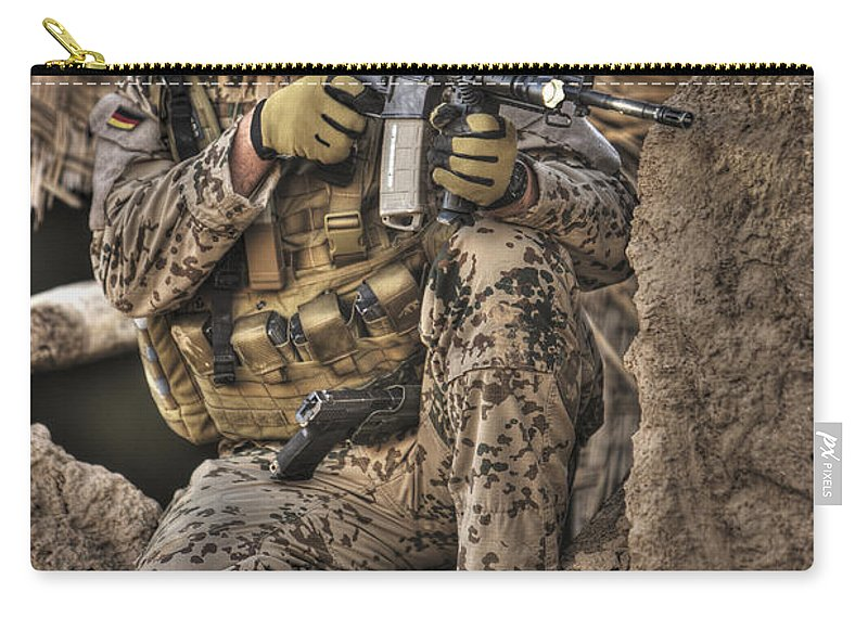 Aiming Carry-all Pouch featuring the photograph Hdr Image Of A German Army Soldier by Terry Moore
