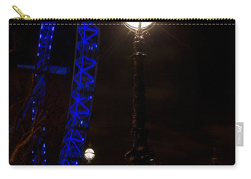 London Eye Carry-all Pouch featuring the photograph London Eye Night View by David Pyatt