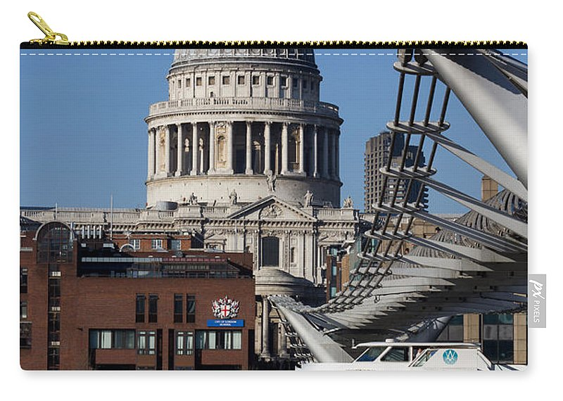 Millenium Carry-all Pouch featuring the photograph Millenium Bridge And St Pauls Cathedral by David Pyatt