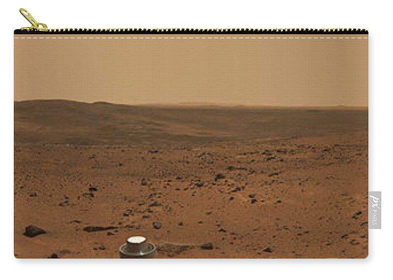 Crater Carry-all Pouch featuring the photograph Panoramic View Of Mars by Stocktrek Images