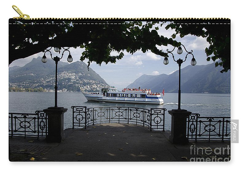 Trees Carry-all Pouch featuring the photograph Passenger Ship On An Alpine Lake by Mats Silvan