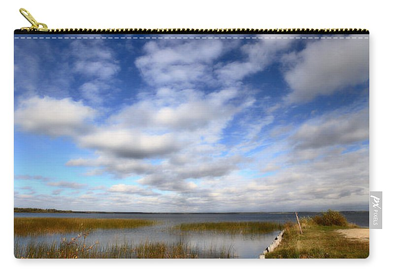 Pink Carry-all Pouch featuring the photograph Pink Boat In Scenic Saskatchewan by Mark Duffy