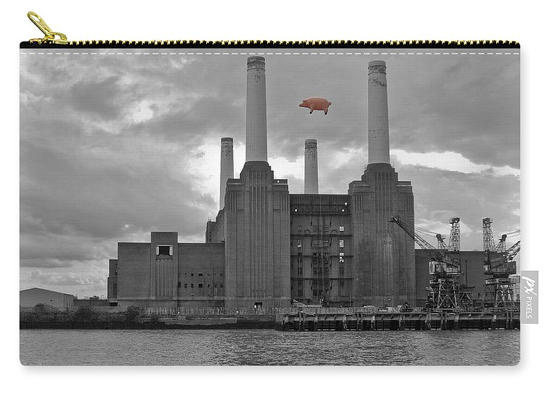 Pink Floyd Carry-all Pouch featuring the photograph Pink Floyd Pig At Battersea by Dawn OConnor