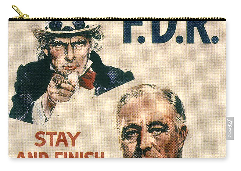 1940 Carry-all Pouch featuring the photograph Presidential Campaign, 1940 by Granger