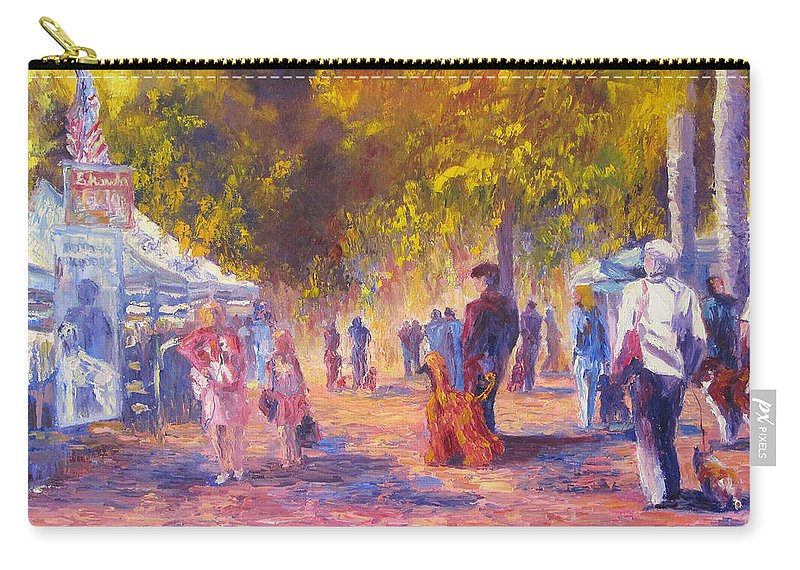Dog Show Scene Carry-all Pouch featuring the painting Promenade by Terry Chacon