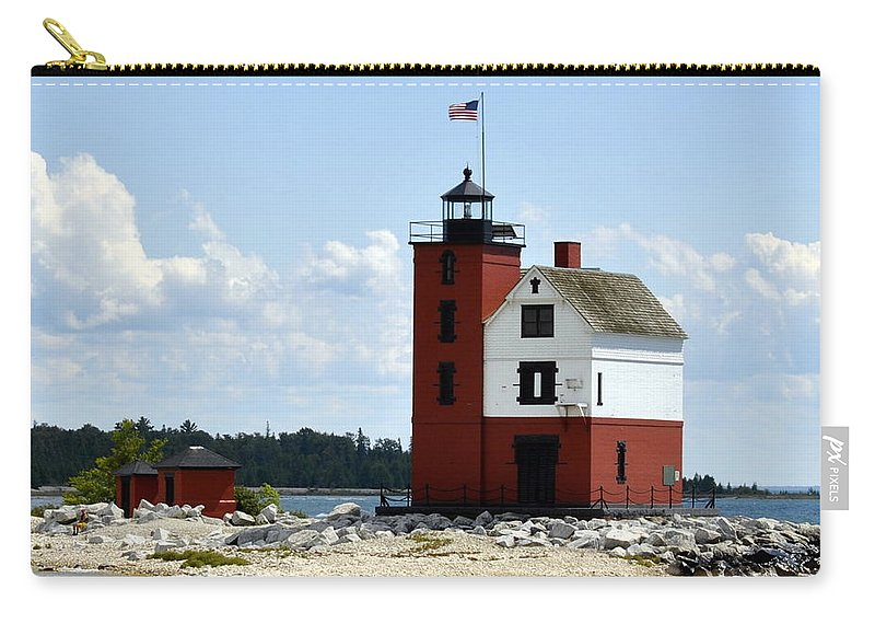 Mackinac Island Carry-all Pouch featuring the photograph Round Island Lighthouse by Marysue Ryan