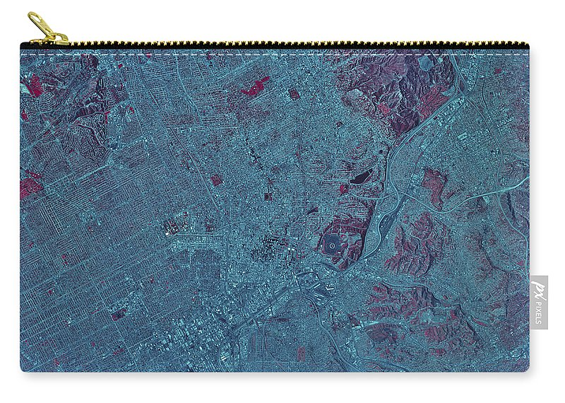 Color Image Carry-all Pouch featuring the photograph Satellite View Of Los Angeles by Stocktrek Images