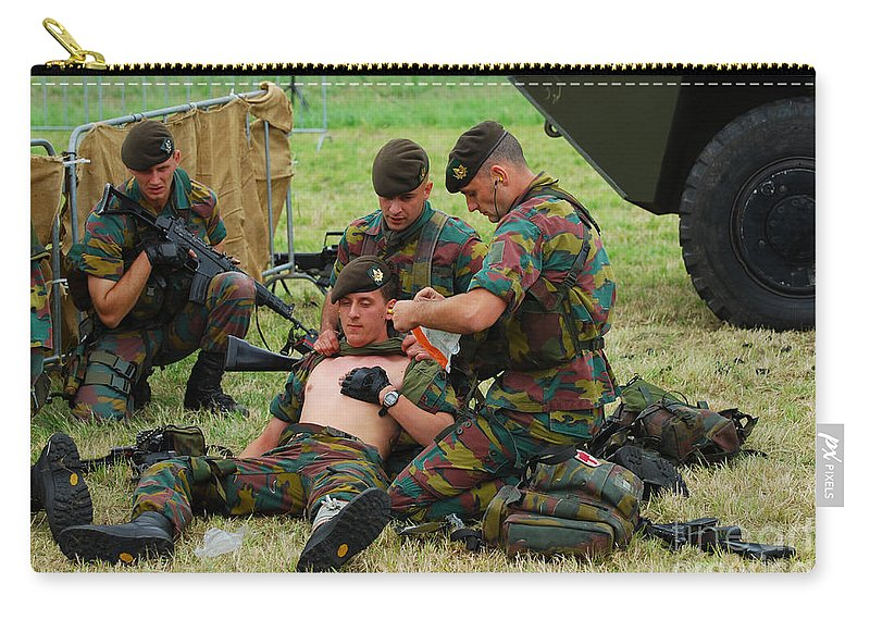 Armed Forces Carry-all Pouch featuring the photograph Soldiers Of A Belgian Infantry Unit by Luc De Jaeger