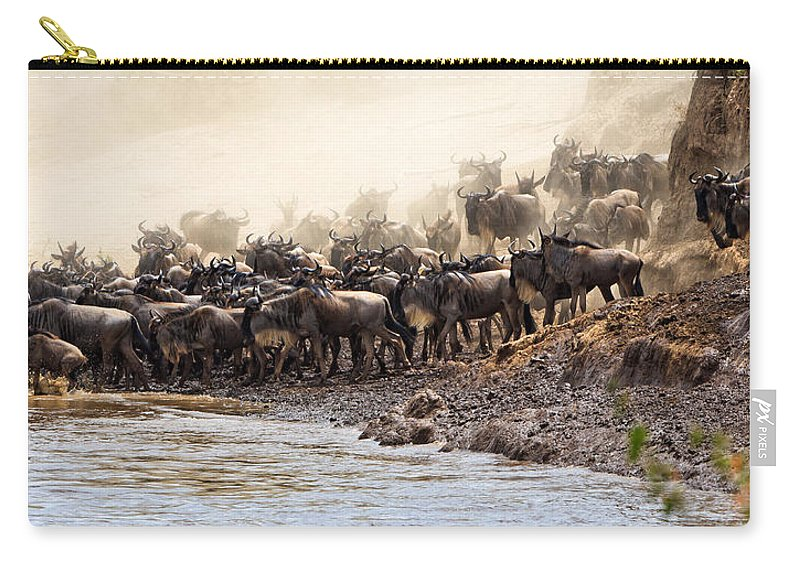 Wildebeest Carry-all Pouch featuring the photograph Wildebeest Before The Crossing by Perla Copernik