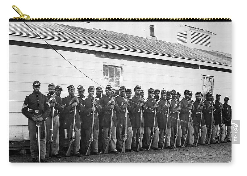 1865 Carry-all Pouch featuring the photograph Civil War: Black Troops by Granger
