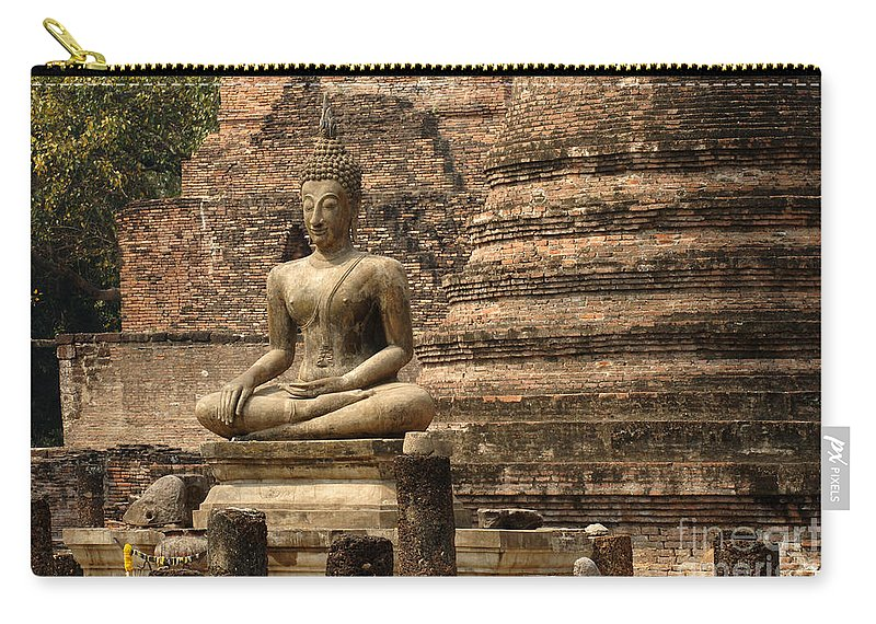 Sukhothai Carry-all Pouch featuring the photograph Buddha At Sukhothai by Bob Christopher