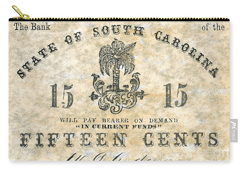 1863 Carry-all Pouch featuring the photograph Confederate Currency by Granger
