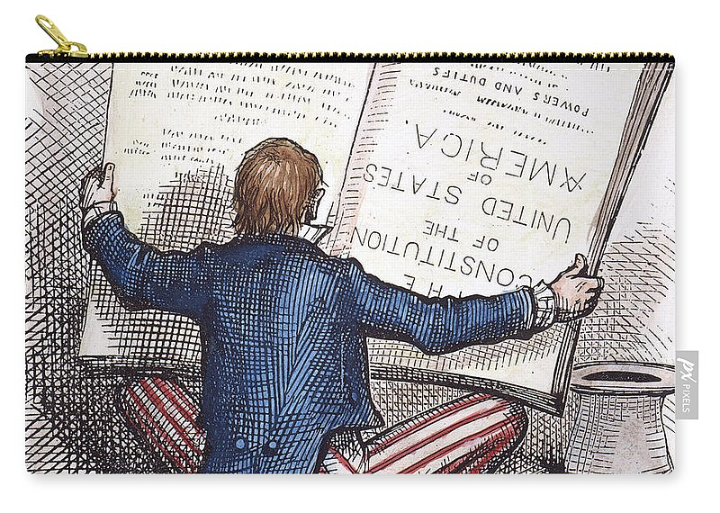 1876 Carry-all Pouch featuring the photograph Election Cartoon, 1876 by Granger