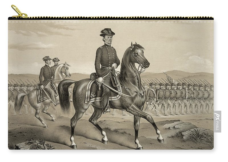 1862 Carry-all Pouch featuring the photograph Franz Sigel (1824-1902) by Granger