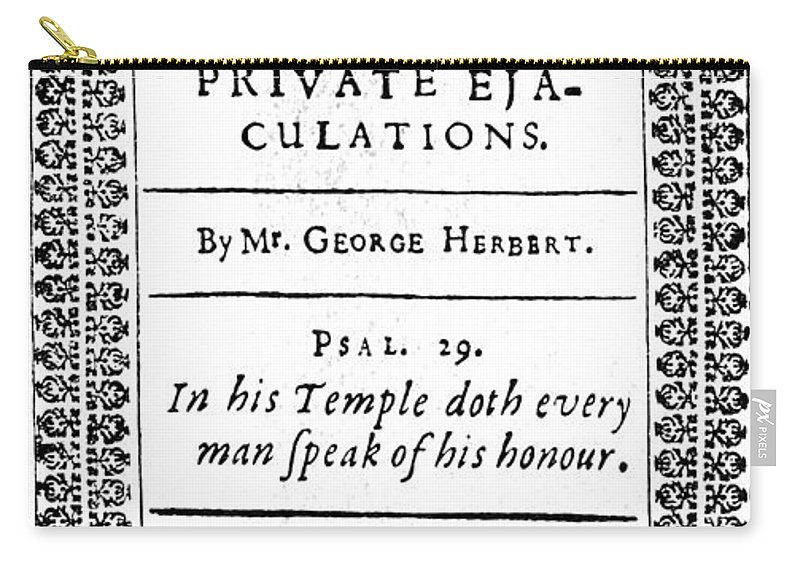 1633 Carry-all Pouch featuring the photograph George Herbert (1593-1633) by Granger