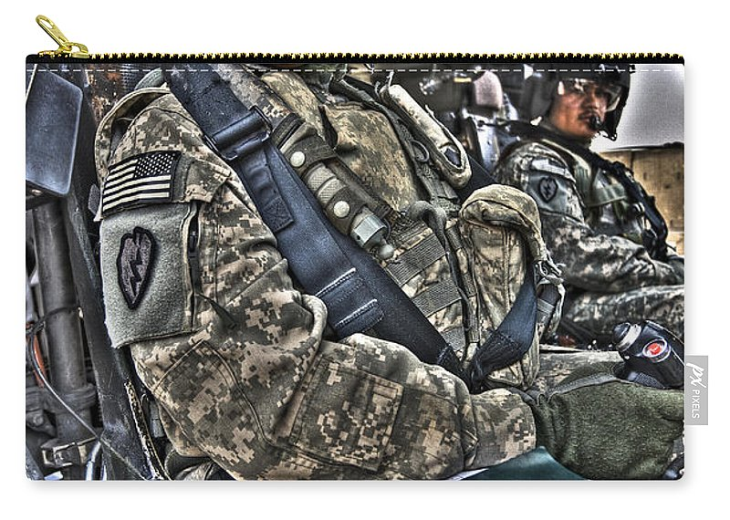 Aviation Carry-all Pouch featuring the photograph Hdr Image Of A Pilot Sitting by Terry Moore