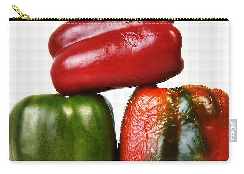 Peppers Carry-all Pouch featuring the photograph Peppers by Bernard Jaubert