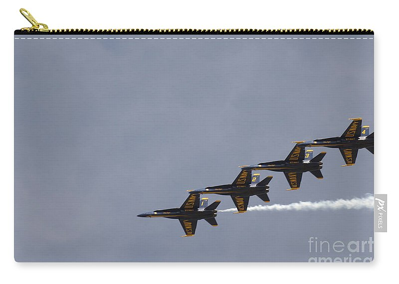 Aerial Carry-all Pouch featuring the photograph The Blue Angels Perform Aerial by Stocktrek Images